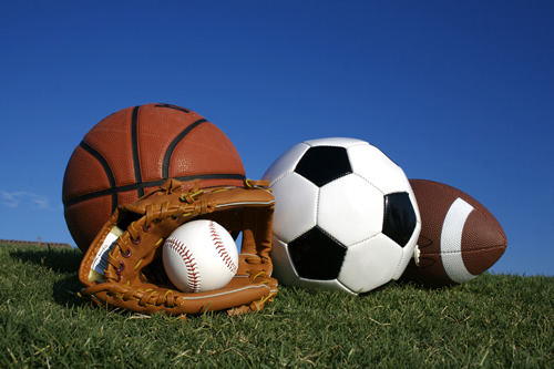 Relationships are like sports. Image of sports balls.